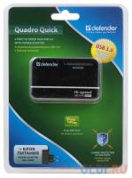 ХАБ USB 3.0 Defender QUADRO Quick (4 порта, БП)